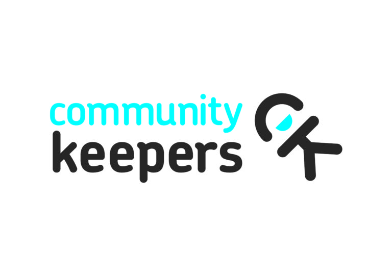 The text Community Keepers written in blue and grey with an icon of a person displayed next to it